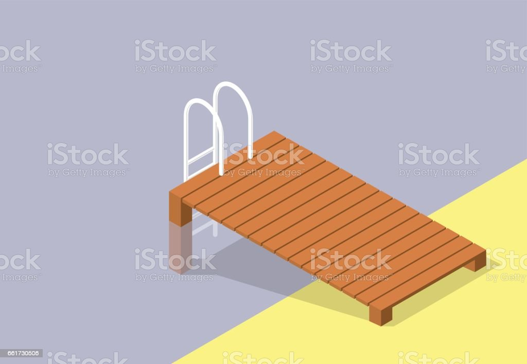 Vector wooden pier, small pool. Brown wharf, swimming pool steps.