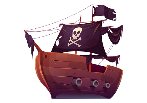 Vector wooden pirate boat with black sails