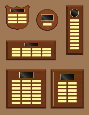 An assortment of wooden wall plaques in vector format.
