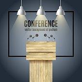Vector Wooden Podium Tribune Rostrum Stand with microphones and