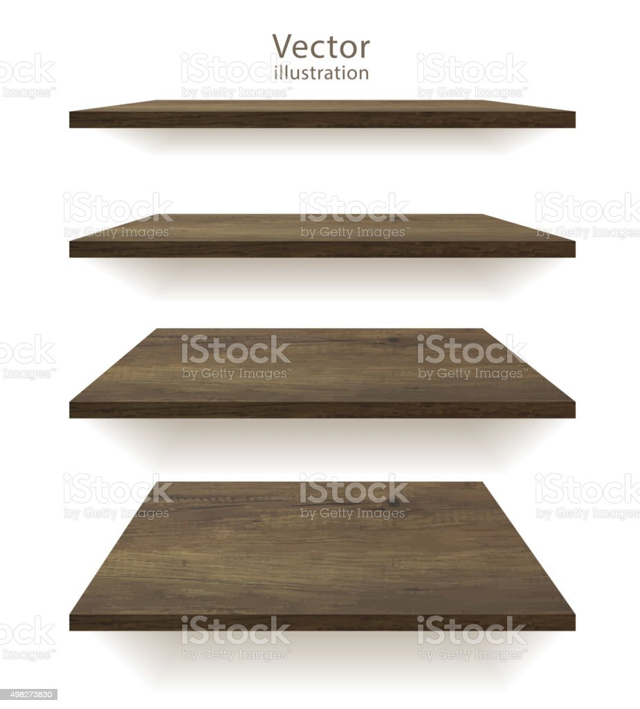 Vector wooden shelves vector art illustration