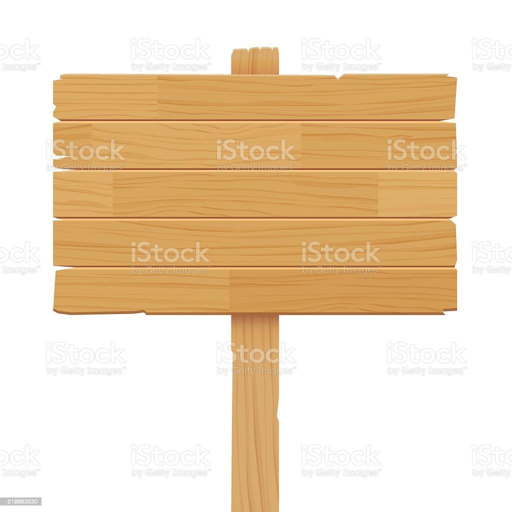 Vecteur de panneau en bois seul sur fond blanc - Illustration vectorielle