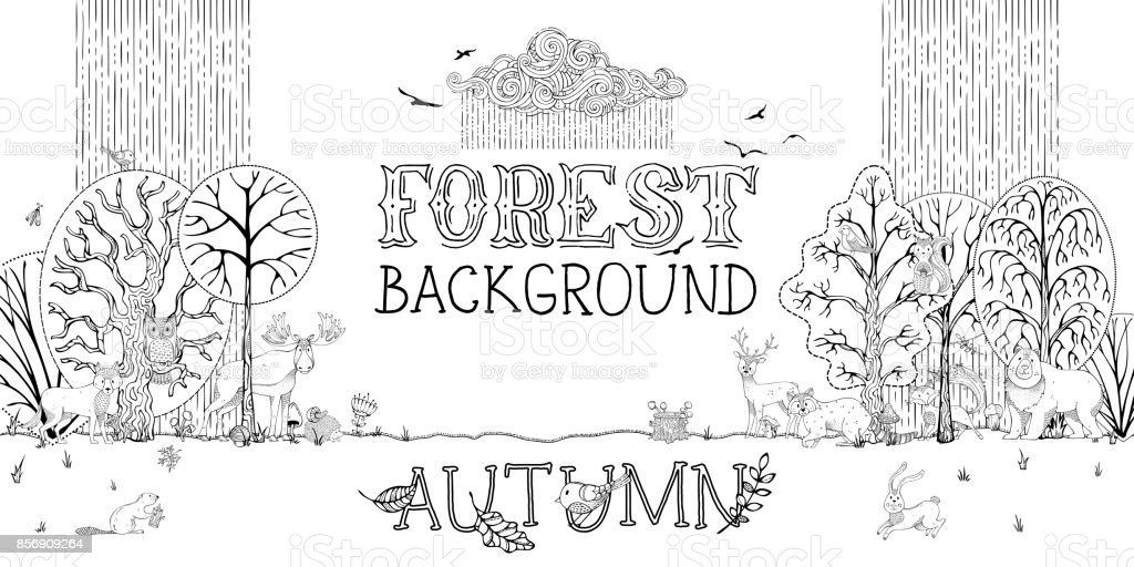 Vector woodland autumn background. vector art illustration