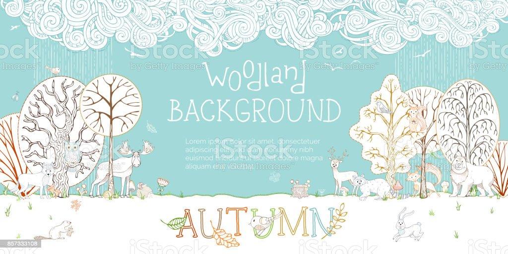 Vector woodland autumn background.