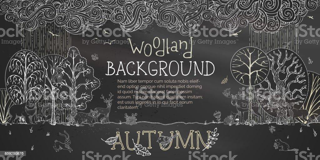 Vector woodland autumn blackboard background. vector art illustration