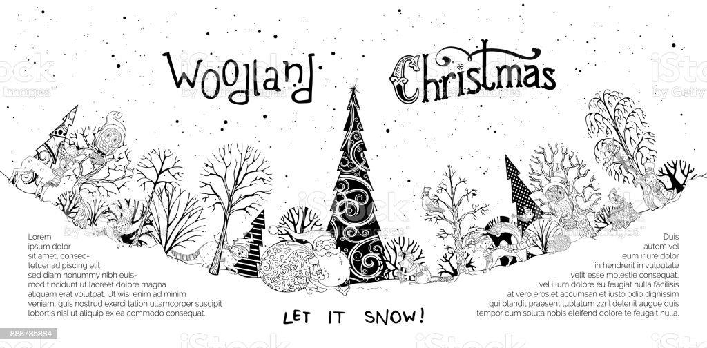 Vector woodland Christmas background. vector art illustration