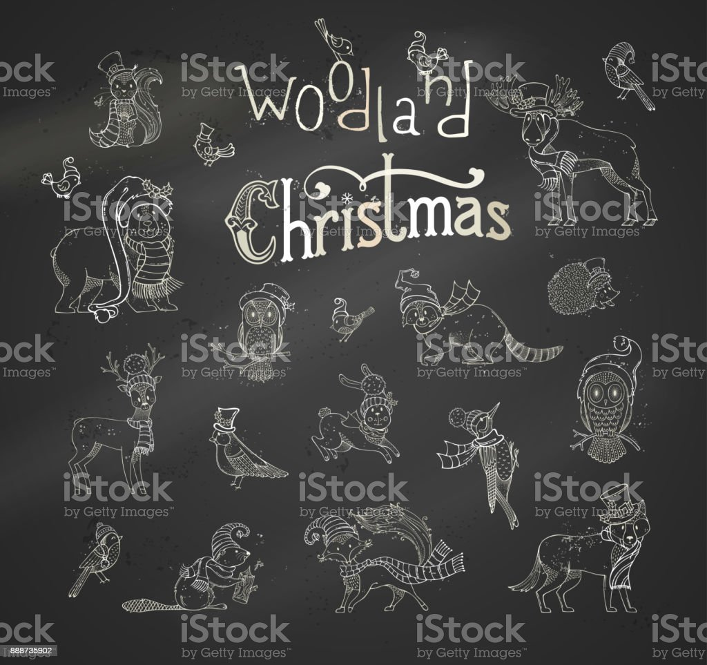 Vector woodland Christmas set. vector art illustration