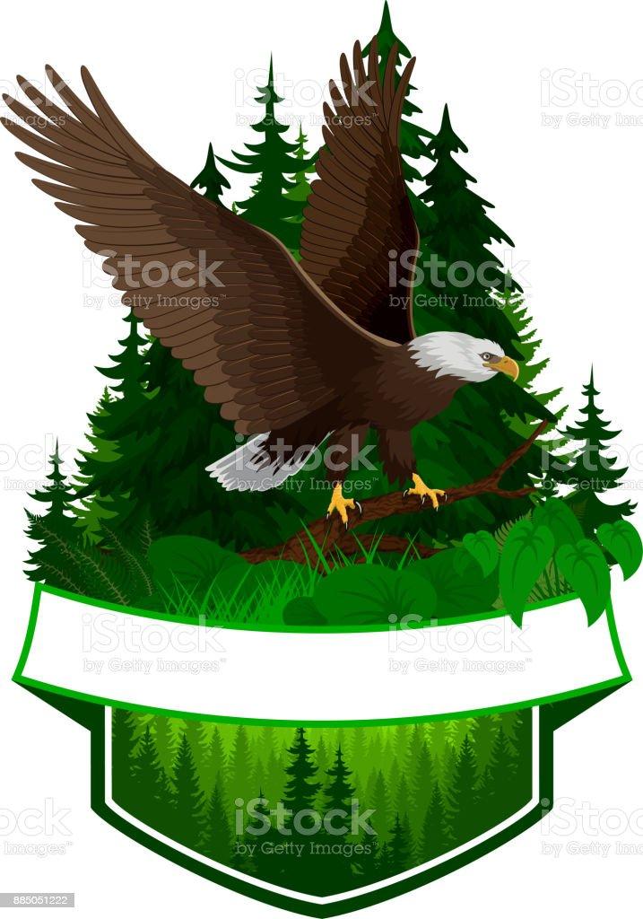 vector woodland emblem with bald eagle