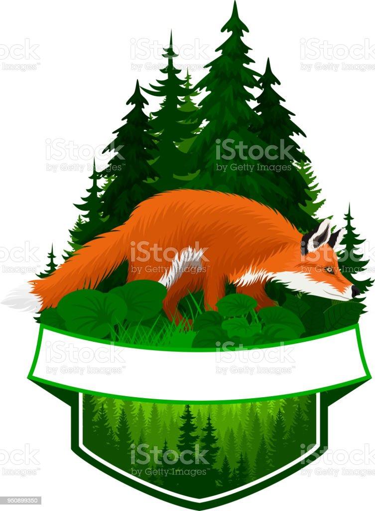 vector woodland emblem with red fox (Vulpes vulpes) vector art illustration