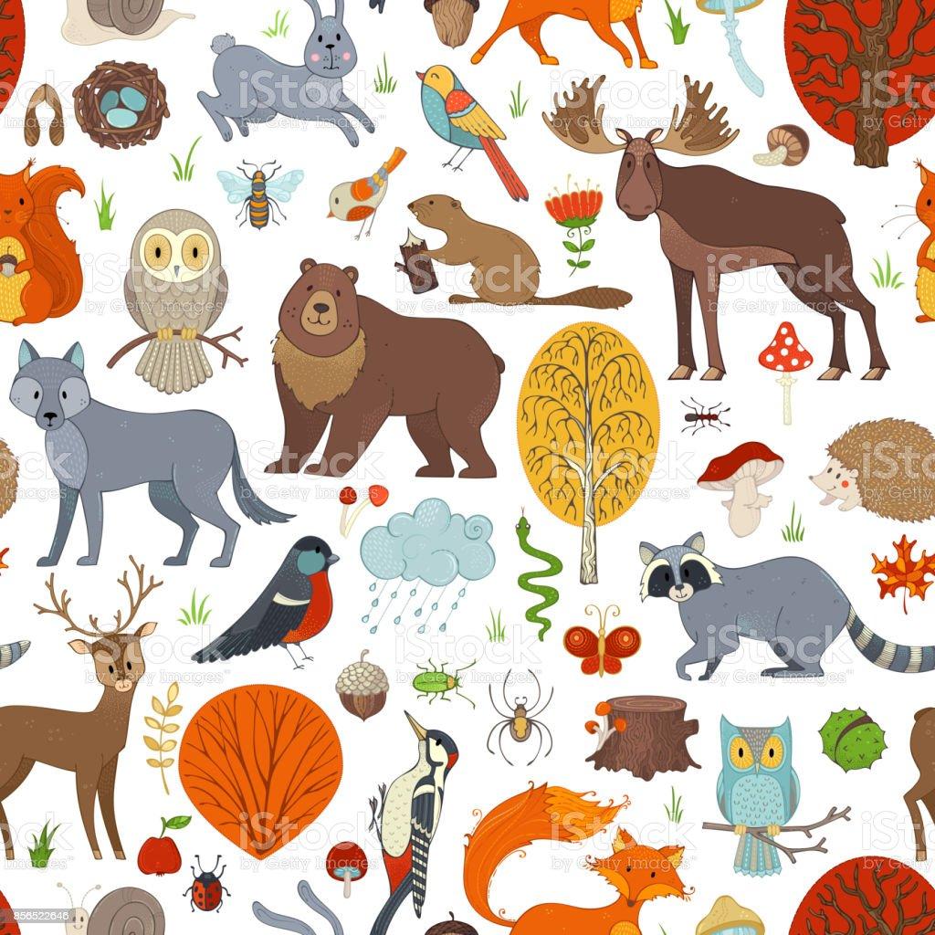 Vector woodland seamless pattern. vector art illustration