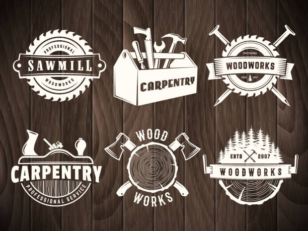 Vector woodwork badge Woodwork badges. Vector icons for carpentry, sawmill, lumberjack service or woodwork shop. Set of labels on vintage wooden background. carpenter stock illustrations