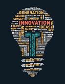 Vector word cloud of innovation light bulb