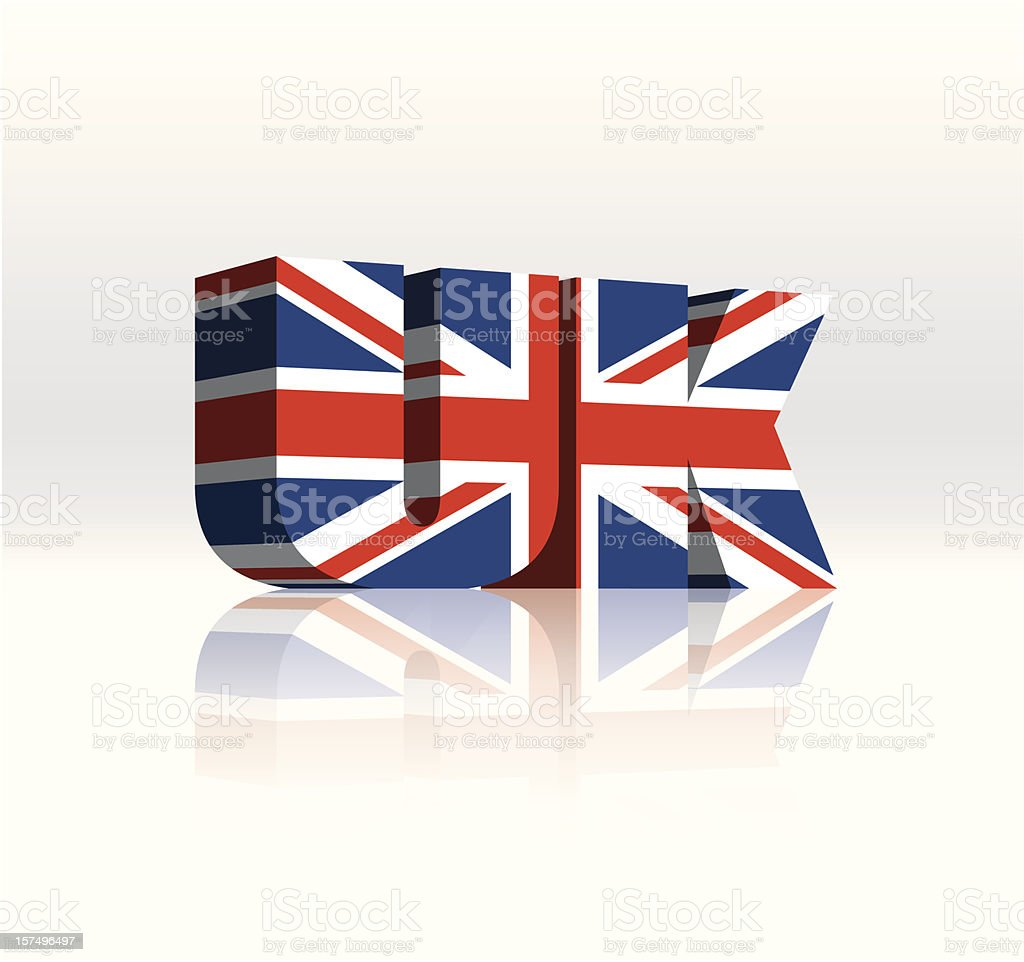 3D UK (United Kingdom) Vector Word Text Flag royalty-free stock vector art