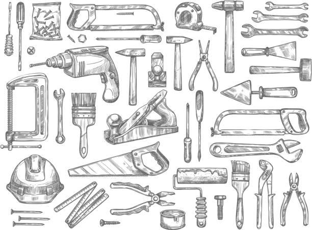 ilustrações, clipart, desenhos animados e ícones de ferramentas de trabalho vetor esboçar ícones para reparação de casa - carpinteiro