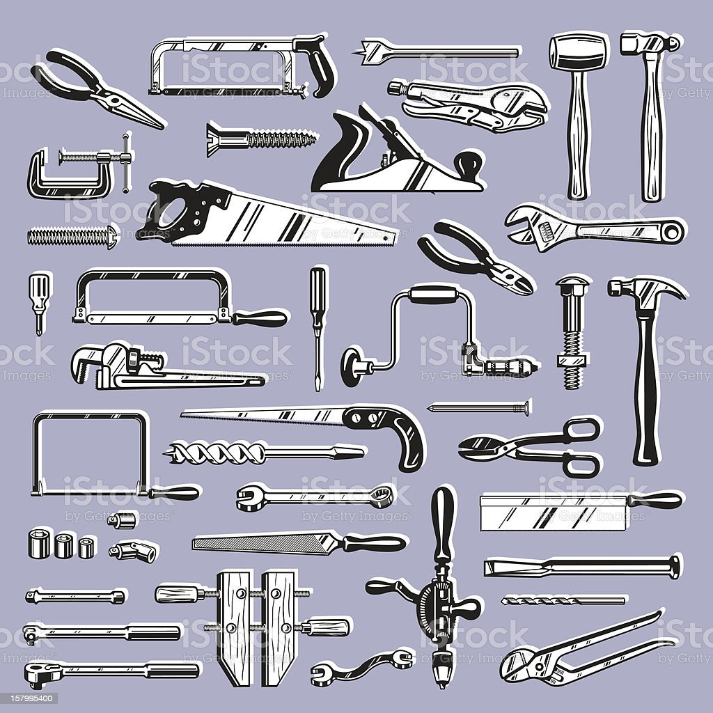 Vector Workbench Hand Tools Clip Art For Carpentry And Mechanics Stock  Illustration - Download Image Now