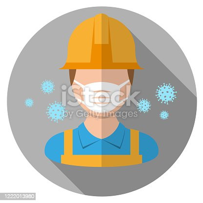 istock Vector - Worker wearing medical face mask 1222013980