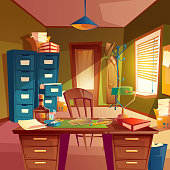Vector working space of detective, office room interior