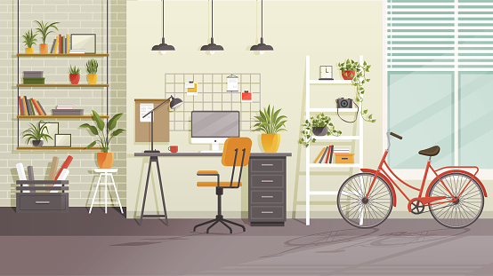 Vector workplace modern design. Office, studio, cabinet or home workspace interior with furnitures