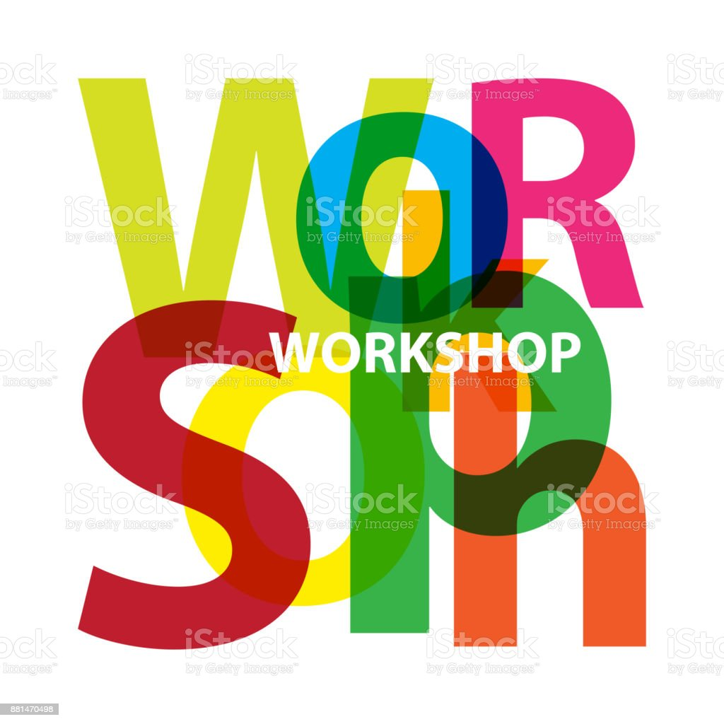 Vector workshop. Broken text vector art illustration