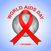 Vector World Aids Day background with red ribbon and Earth globe.