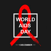 Vector World Aids Day background with red ribbon.