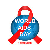 Vector World Aids Day concept. Red ribbon with Earth globe. Isolated on white background.