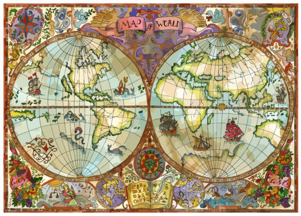 vector world atlas map on old paper with continents, lands, old ships - mythology stock illustrations