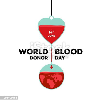 istock vector World blood donor day, Medical sign on June 14. Vector illustration. Metaphor of human bloods donation for humanity. 1253409163