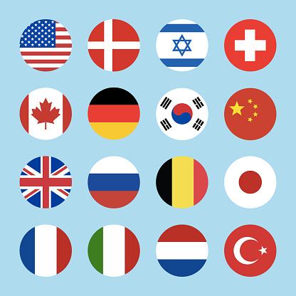 Vector world flags set. Circle icons
