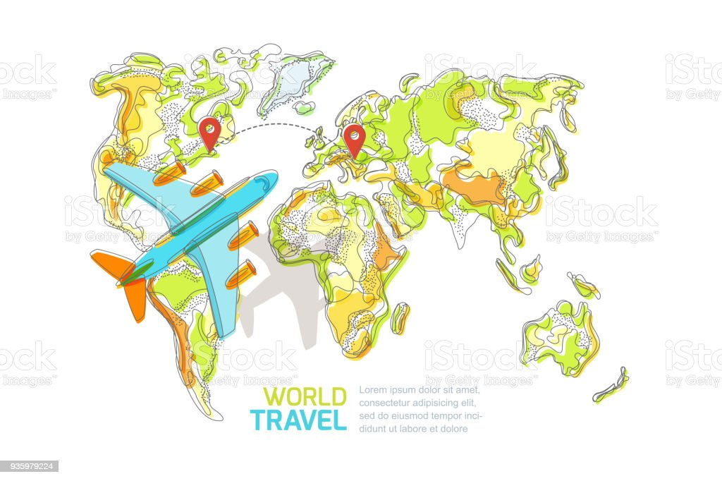 Vector world map and flying airplane isolated on white background vector world map and flying airplane isolated on white background travel around the world gumiabroncs Choice Image
