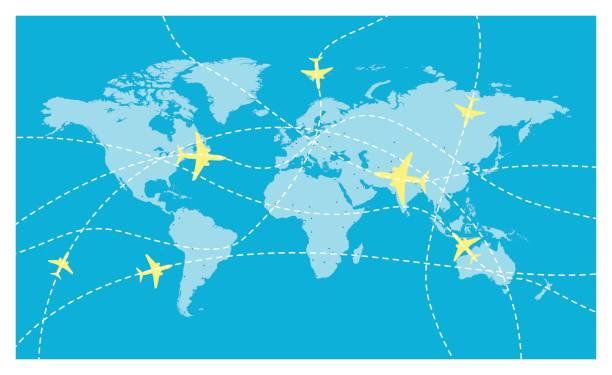 ベクトル世界地図とグローバル航空会社 - アジア旅行点のイラスト素材/クリップアート素材/マンガ素材/アイコン素材