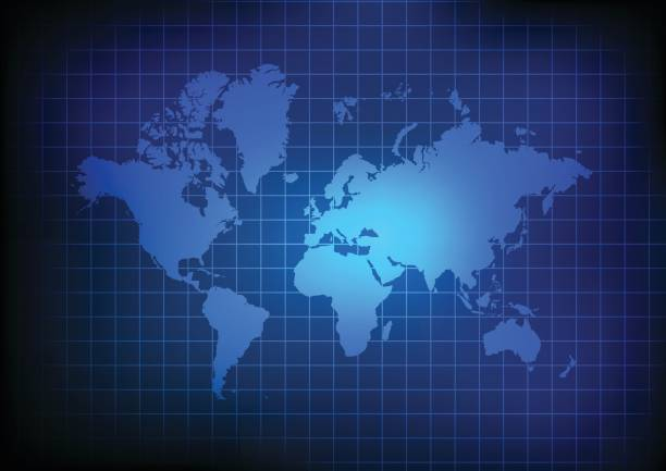 Vector : World map and grid on blue background vector art illustration