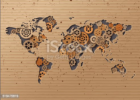 istock vector World map  Brown Cardboard 519475819
