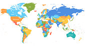 Vector world map. Colorful world map with countries borders. Detailed map for business, travel, medicine, education stock illustration
