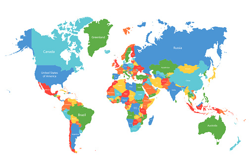 Vector world map. Colorful world map with countries borders. Detailed map for business, travel, medicine, education