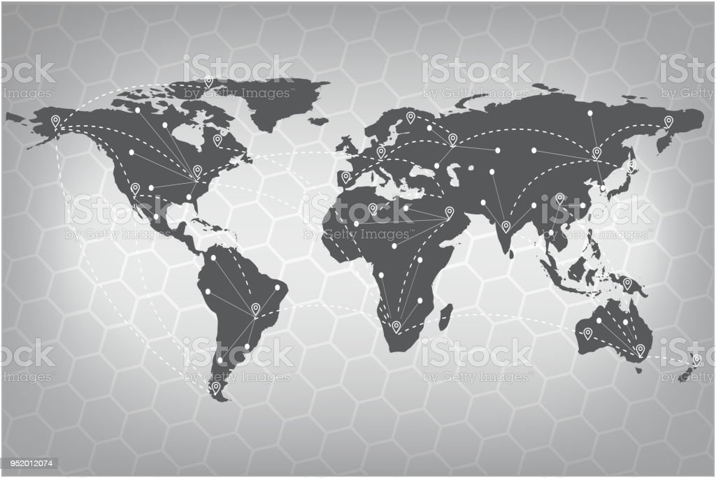 Vector World Map Connection Gray Similar World Map World Map Vector