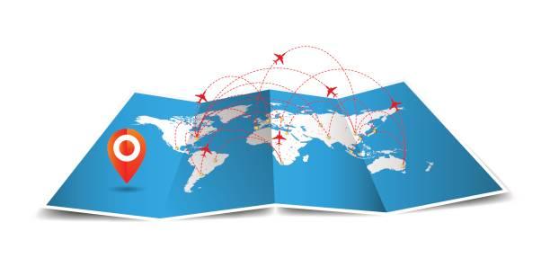 vector welt gefaltete karte mit globalen airline isoliert auf weißem hintergrund - europareise stock-grafiken, -clipart, -cartoons und -symbole
