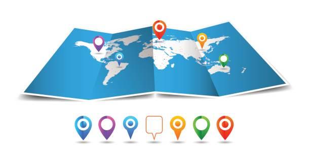ilustraciones, imágenes clip art, dibujos animados e iconos de stock de mundo vector mapa doblado con pin aislado sobre fondo blanco - viaje a sudamérica