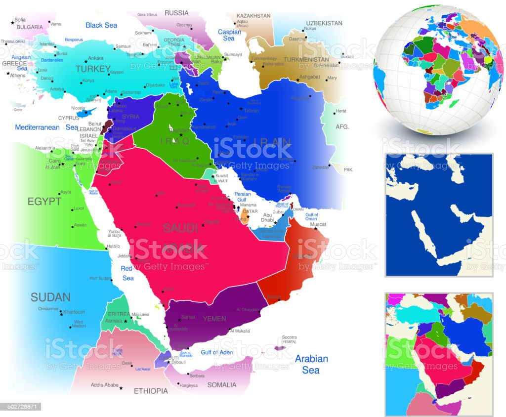 Vector World Map Geography of Middle East