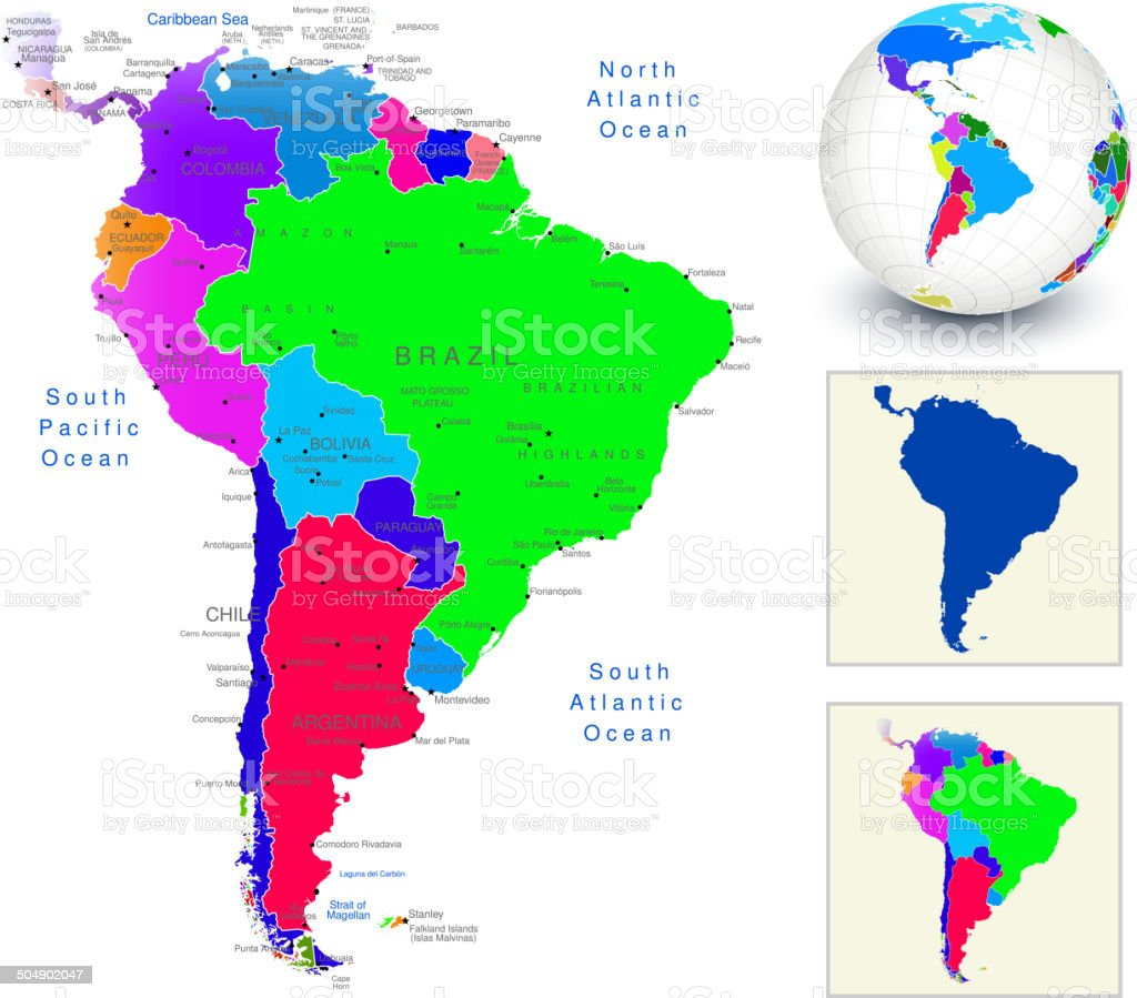 Vector world map geography of south america stock vector art vector world map geography of south america royalty free stock vector art gumiabroncs Images