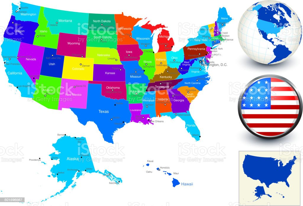 Vector World Map Geography Of United States Stock Vector Art - World map of the united states