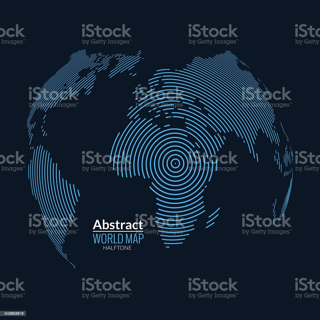 Vector world map globe planet lines global radial halftone concept vector world map globe planet lines global radial halftone concept royalty free gumiabroncs Choice Image