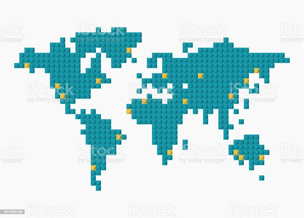 Vector world map made from blue and yellow plastic construction vector world map made from blue and yellow plastic construction blocks on transparent background royalty gumiabroncs Image collections