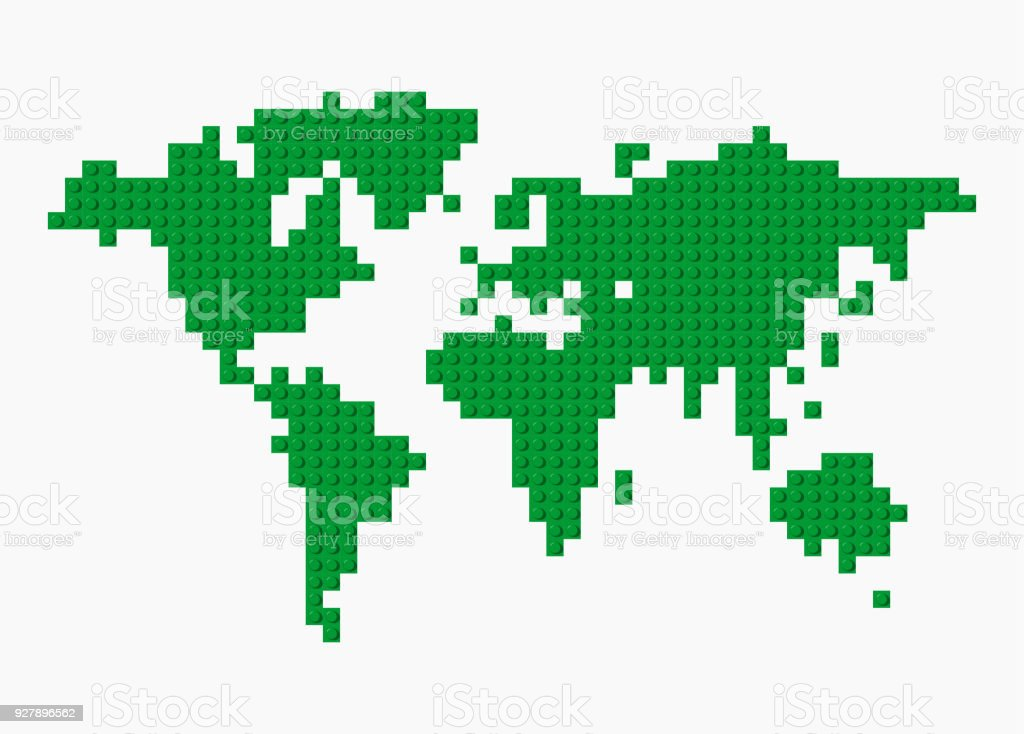 Vector world map made from green plastic construction blocks on vector world map made from green plastic construction blocks on transparent background royalty free gumiabroncs Images