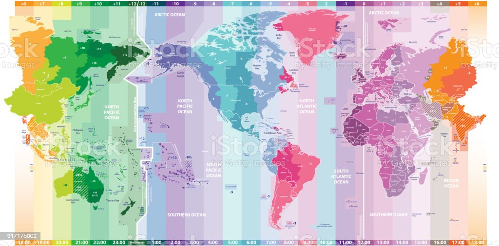 Vector World Map Of Local Time Zones Centered By America Stock - Us-centered-world-map