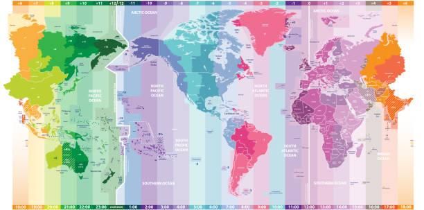 bildbanksillustrationer, clip art samt tecknat material och ikoner med vector världskarta över lokala tidszoner centrerad av amerika - tidszon