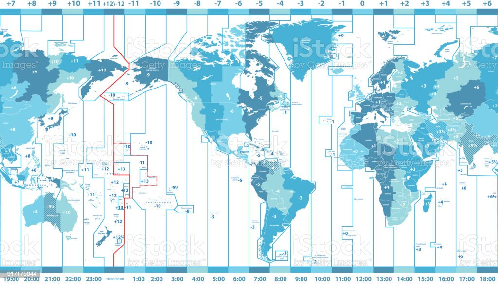 vector world map of local time zones centered by America vector art illustration