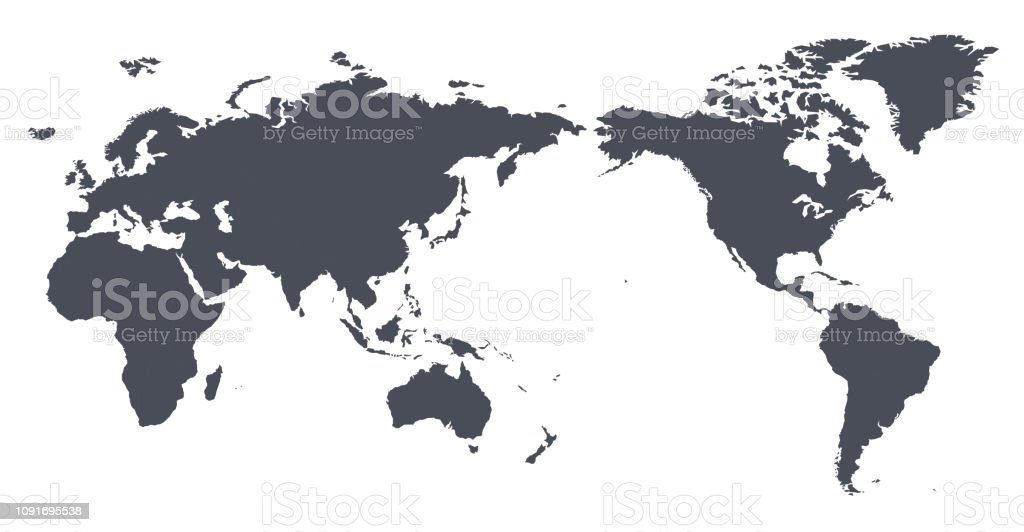 Vector World Map Outline Contour Silhouette - Asia in Center Vector World Map Outline Contour Silhouette - Asia in Center Africa stock vector