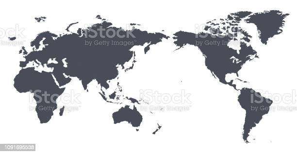 Vector World Map Outline Contour Silhouette Asia In Center Stock Illustration - Download Image Now