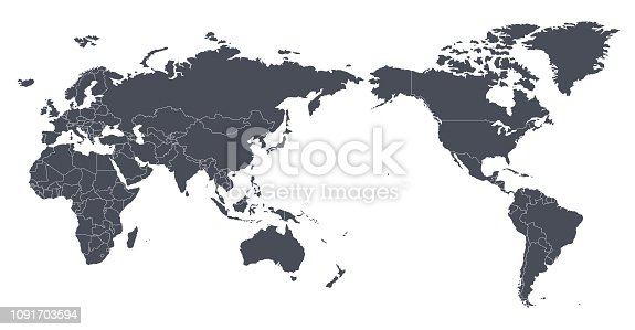 Vector World Map Outline Contour Silhouette with international borders - Asia in Center